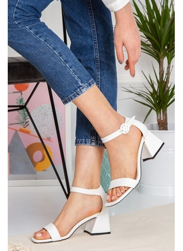 Derithy Jasen Topuklu Ayakkabı-Sıyah-Süet-Byc1403 Beyaz